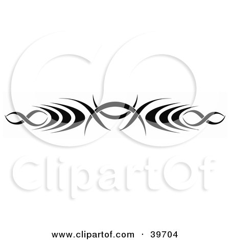 Clipart Illustration of a Black Tribal Lower Back Tattoo Or Website Header Design Element by dero