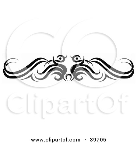 Clipart Illustration of a Black Bird Like Lower Back Tattoo Or Website Header Design Element by dero
