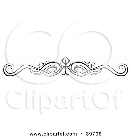 Clipart Illustration of a Black Scrolly Lower Back Tattoo Or Website Header Design Element by dero