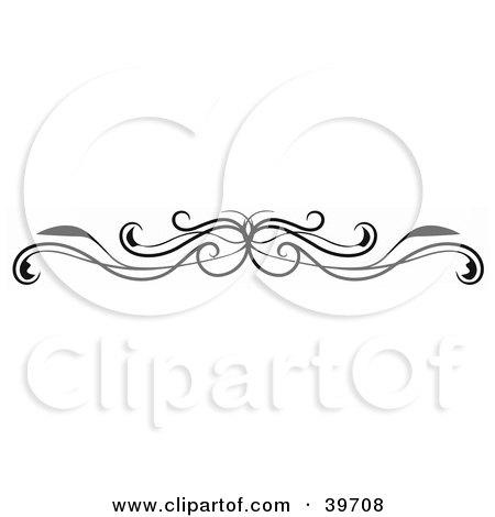 Clipart Illustration of a Black Vine Lower Back Tattoo Or Website Header Design Element by dero