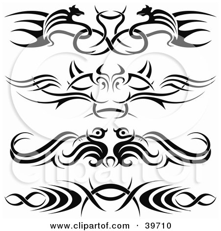 Royalty-free clipart picture of four bold black lower back tattoo or