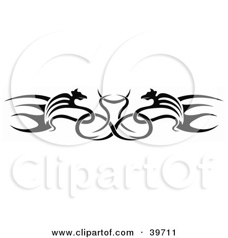 Clipart Illustration of a Black Double Dragon Lower Back Tattoo Or Website Header Design Element by dero