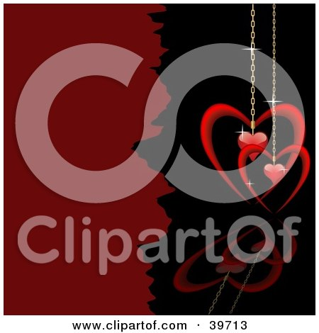 Clipart Illustration of a Red Heart Pendants On Golden Chains, Suspended Over A Black Reflective Surface by dero