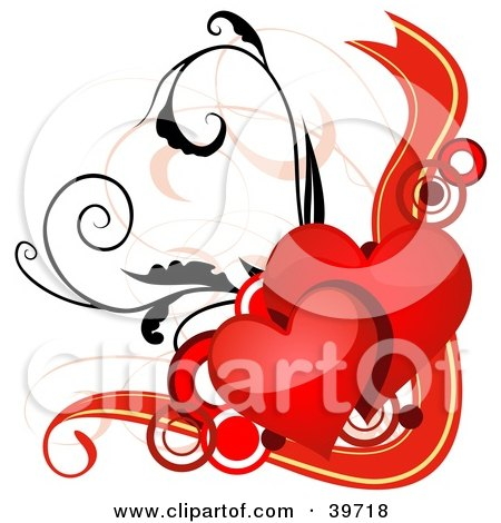 Clipart Illustration of Two Shiny Red Hearts Over Circles And Vines With A Red Banner by dero
