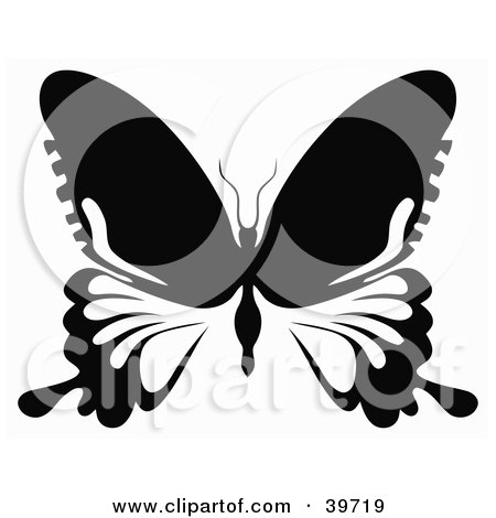 Clipart Illustration of a Black And White Butterfly With Long Extensions On Its Lower Wings by dero