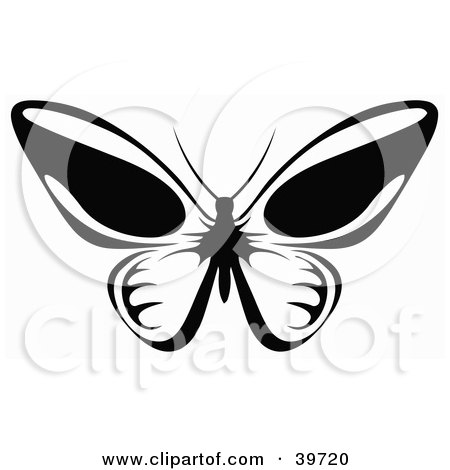 Clipart Illustration of a Flying Butterfly In Black And White, Its Wings Open by dero