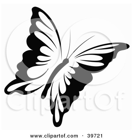 Royalty-free insect clipart picture of a black and white flying butterfly,