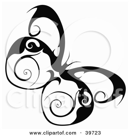 Clipart Illustration of a Pretty Butterfly With Swirl Designs On Its Wings by dero