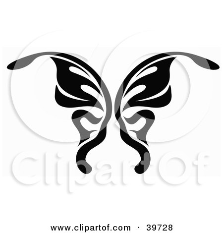 Clipart Illustration of a Black And White Butterfly Tattoo Design by dero