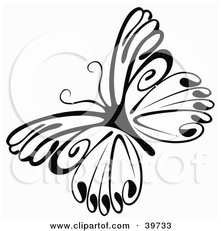 Royalty-free insect clipart picture of a delicate black and white butterfly,