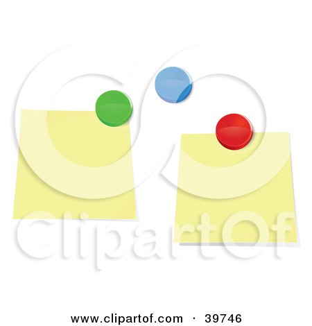 Clipart Illustration of Two Blank Sticky Notes And Colorful Push Pins On A Bulletin Board by Frog974