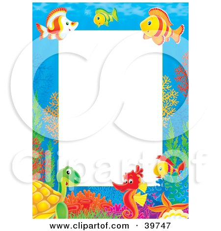 Clipart Illustration of an Underwater Stationery Border Of Tropical Fish, Turtles And Seahorses Socializing by Alex Bannykh