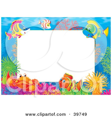 Clipart Illustration of an Underwater Stationery Border Of Crabs And Marine Fish On A Reef by Alex Bannykh