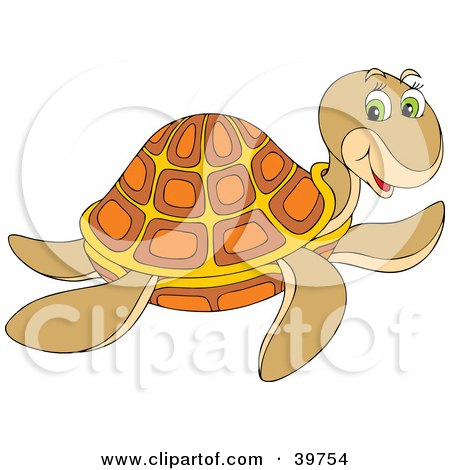 Clipart Illustration of a Friendly Brown, Orange And Yellow Turtle by Alex Bannykh