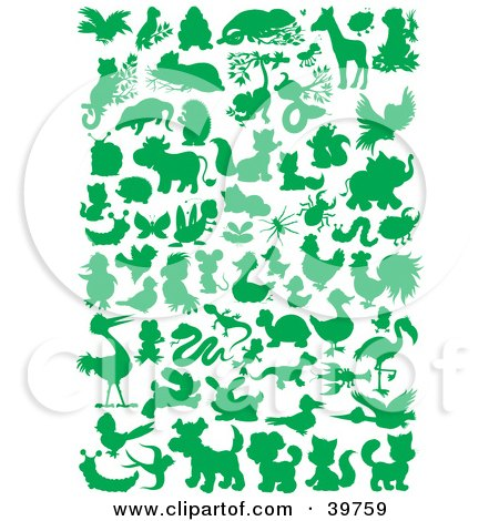 Clipart Illustration of Green Silhouetted Animals by Alex Bannykh