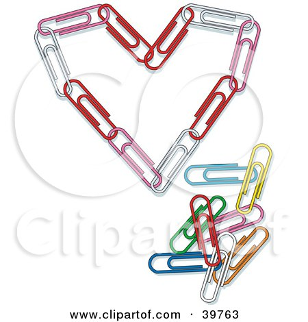 Clipart Illustration of a Heart Made Of Pink, Red And White Paperclips by Dennis Holmes Designs
