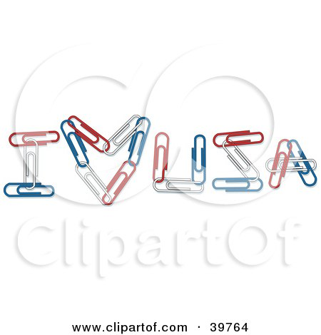Clipart Illustration of Patriotic Red, White And Blue Paperclips Spelling Out I Heart USA by Dennis Holmes Designs