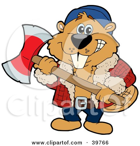 Lumberjack Beaver Holding An Axe And Preparing To Cut Wood Posters, Art Prints
