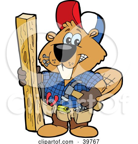Clipart Illustration of a Carpenter Beaver Building With Wood, Biting Nails In His Mouth by Dennis Holmes Designs