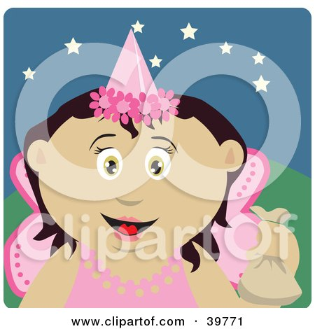 Clipart Illustration of a Friendly Tooth Fairy In A Pink Costume, Holding Up A Bag by Dennis Holmes Designs