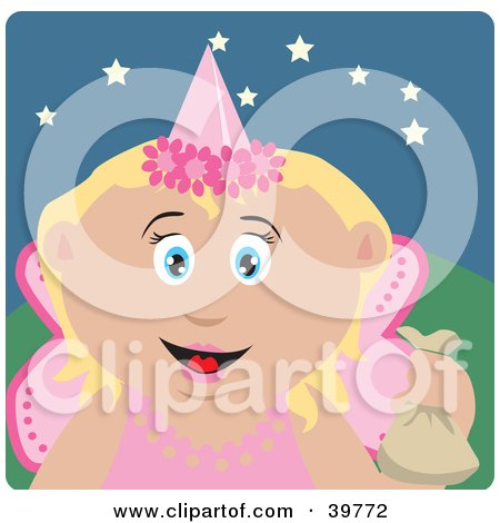 Clipart Illustration of a Happy Tooth Fairy In A Pink Costume, Holding Up A Bag by Dennis Holmes Designs