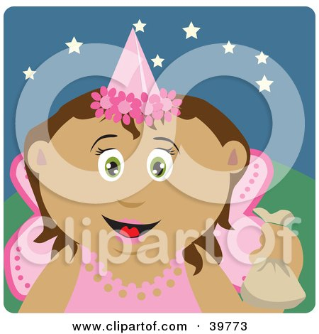 Clipart Illustration of a Tooth Fairy In Pink, Holding Up A Bag by Dennis Holmes Designs