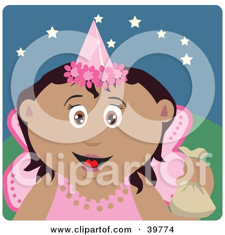 Clipart Illustration of a Happy Hispanic Tooth Fairy In A Pink Costume, Holding Up A Bag by Dennis Holmes Designs