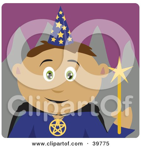 Clipart Illustration of a Friendly Wizard in a Hat, Holding a Wand by Dennis Holmes Designs
