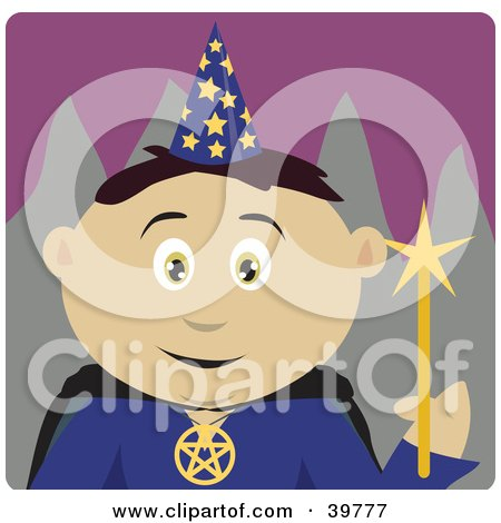 Clipart Illustration of a Wizard Wearing A Conical Hat And Holding A Magic Wand by Dennis Holmes Designs