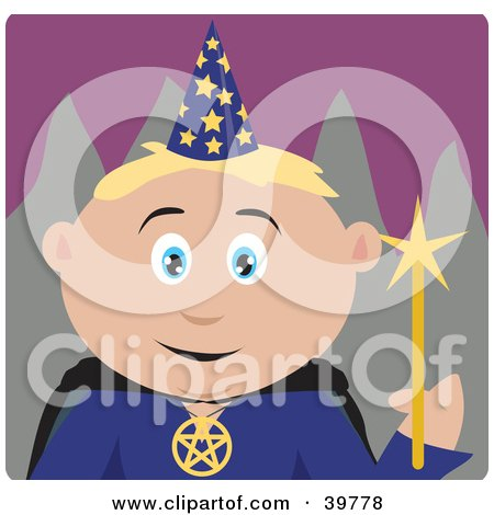 Clipart Illustration of a Male Caucasian Warlock Holding A Magic Wand by Dennis Holmes Designs