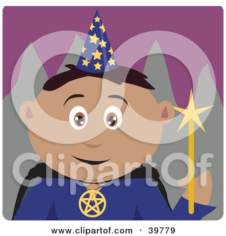 Clipart Illustration of a Male Magician Holding A Magic Wand by Dennis Holmes Designs