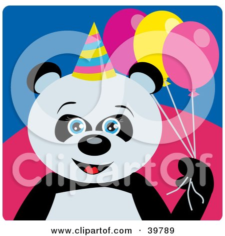 Clipart Illustration of a Blue Eyed Female Birthday Giant Panda Bear Holding Party Balloons by Dennis Holmes Designs