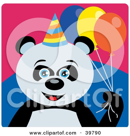 Clipart Illustration of a Blue Eyed Male Birthday Giant Panda Bear Holding Party Balloons by Dennis Holmes Designs