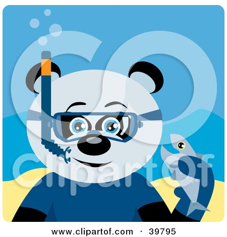 Clipart Illustration of a Blue Eyed Male Giant Panda Bear Wearing Blue Snorkel Gear, Holding A Fish Underwater by Dennis Holmes Designs