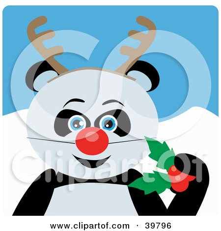 Clipart Illustration of a Blue Eyed Giant Panda Bear Disguised As Rudolph by Dennis Holmes Designs