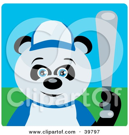 Clipart Illustration of a Blue Eyed Giant Panda Bear Playing Baseball On A Field by Dennis Holmes Designs
