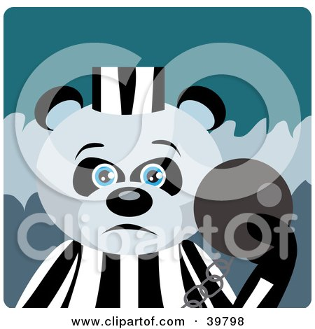 Blue Eyed Prisoner Giant Panda Bear Attached To A Ball And Chain Posters, Art Prints