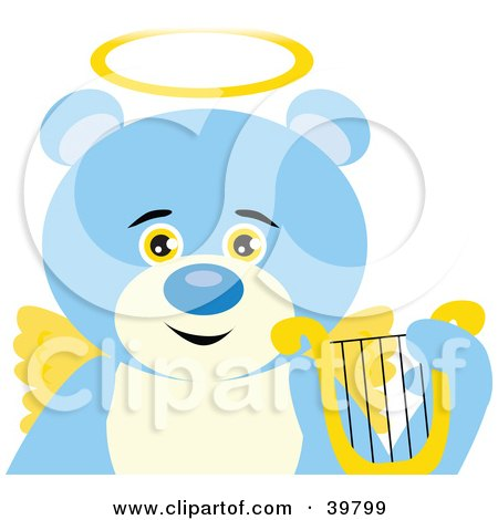 Clipart Illustration of An Angelic Teddy Bear With Golden Wings And A Halo by Dennis Holmes Designs