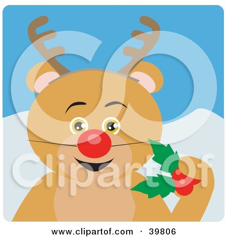 Clipart Illustration of a Brown Bear Disguised As Rudolph by Dennis Holmes Designs