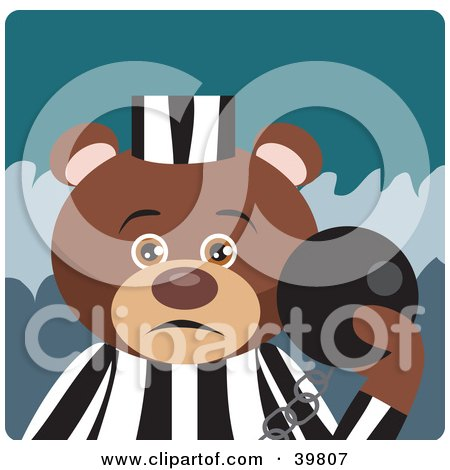 Brown Prisoner Teddy Bear Attached To A Ball And Chain Posters, Art Prints