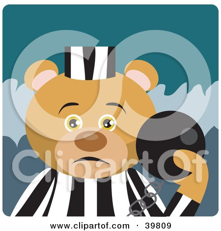 Clipart Illustration of a Brown Prisoner Bear Attached To A Ball And Chain by Dennis Holmes Designs