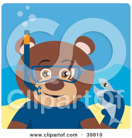 Clipart Illustration of a Brown Male Teddy Bear Wearing Blue Snorkel Gear, Holding A Fish Underwater by Dennis Holmes Designs