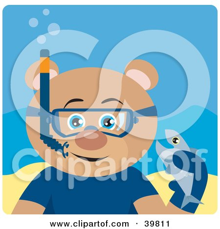 Clipart Illustration of a Blue Eyed Male Teddy Bear Wearing Blue Snorkel Gear, Holding A Fish Underwater by Dennis Holmes Designs
