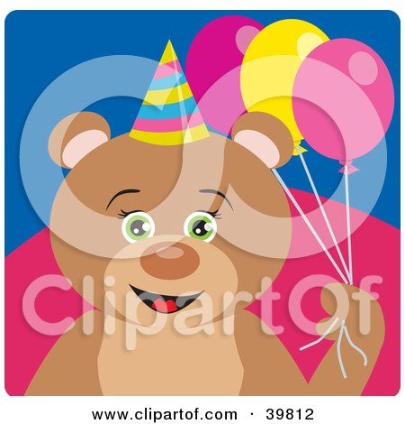 Clipart Illustration of a Green Eyed Female Birthday Teddy Bear Holding Party Balloons by Dennis Holmes Designs