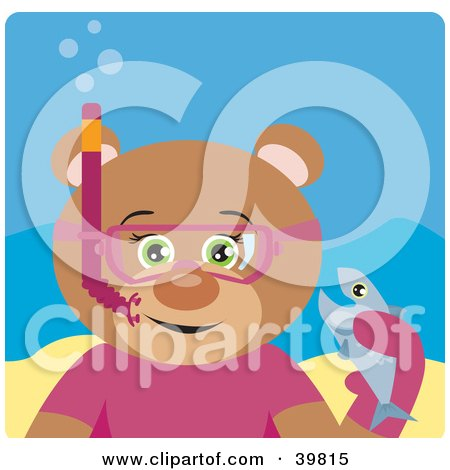 Clipart Illustration of a Green Eyed Female Teddy Bear Wearing Pink Snorkel Gear, Holding A Fish Underwater by Dennis Holmes Designs