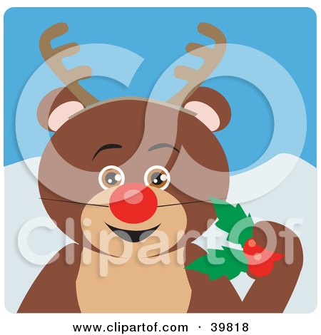 Clipart Illustration of a Brown Teddy Bear Disguised As Rudolph by Dennis Holmes Designs