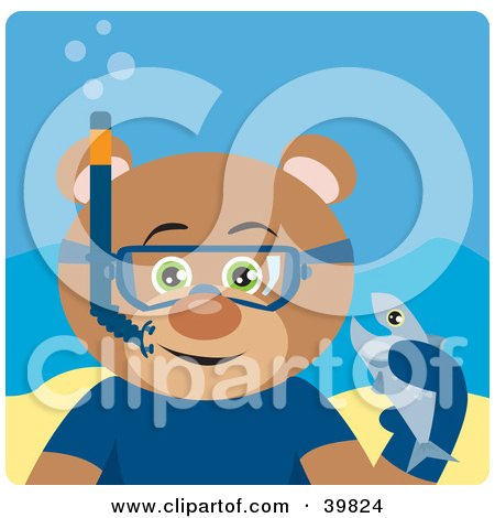 Clipart Illustration of a Green Eyed Male Teddy Bear Wearing Blue Snorkel Gear, Holding A Fish Underwater by Dennis Holmes Designs