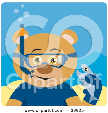Clipart Illustration of a Brown Male Bear Wearing Blue Snorkel Gear, Holding A Fish Underwater by Dennis Holmes Designs