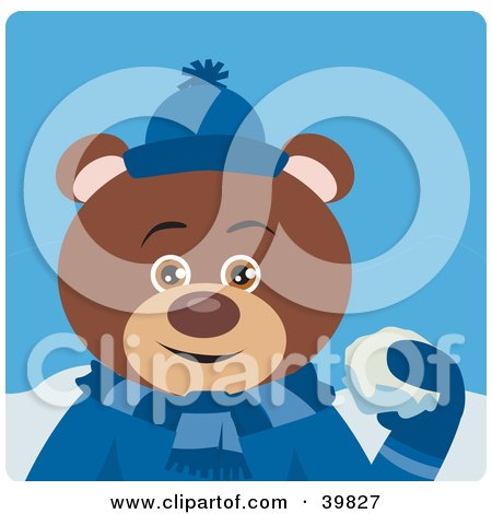 Clipart Illustration of a Brown Male Teddy Bear In Blue, Throwing Snowballs by Dennis Holmes Designs