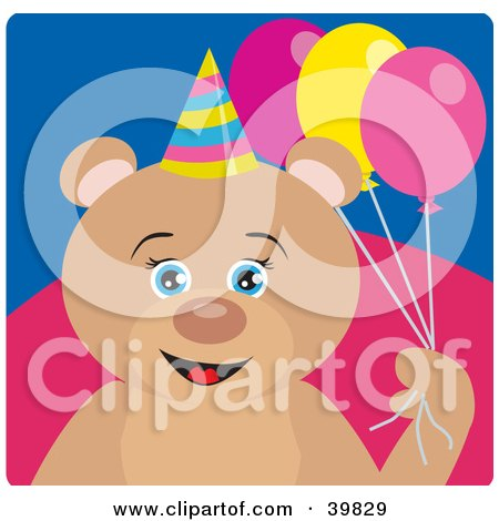 Clipart Illustration of a Blue Eyed Female Birthday Teddy Bear Holding Party Balloons by Dennis Holmes Designs